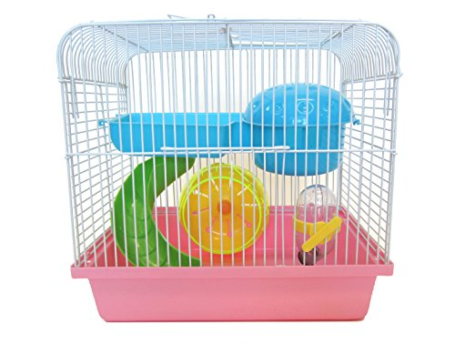 YML Travel Mice Dwarf Hamster Cage with Accessories, Small, Pink