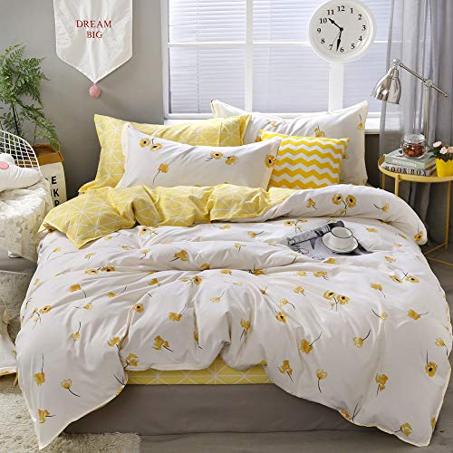 Yellow Flower Bedding Luxury Floral Duvet Cover Set Lucky Clover and Yellow Plaid Reversible Design Flowers Bedding Sets Queen 1 Duvet Cover 2 Pillowcases (Queen, Yellow)