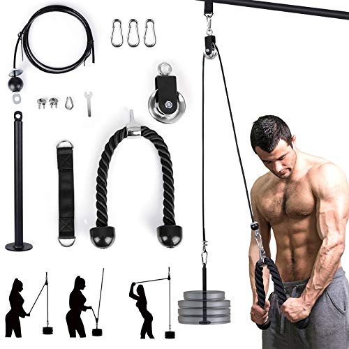 EYCI Fitness LAT and Lift Pulley System, Adjustable Pulley Cable Machine with Triceps Rope, Loading Pin for Triceps Pull Down, Shoulder Pulley, Biceps Curl, Back, Forearm-Home/Gym Fitness Equipment