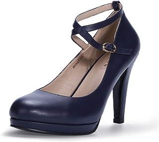 IDIFU Women's RO4 Tracy Buckle Crisscross Strap Platform Pump Round Toe Party High Heels Shoes