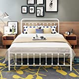 DUMEE Metal Bed Frame Queen Size Platform with Headboard and Footboard Sturdy Metal Frame Steel Slat Support,Textured White