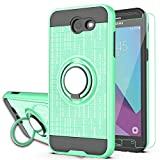 YmhxcY Galaxy J7 Perx/Galaxy J7 Prime/J7 V/J7 Sky Pro/Halo Case with HD Phone Screen Protector, 360 Degree Rotating Ring & Bracket Dual Layer Resistant Back Cover for Samsung J7V 2017-ZH Mint