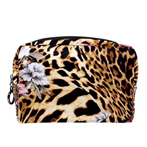 Neceser de Maquillaje Estuche Escolar para Cosméticos Bolsa de Aseo Grande Leopardo Animal Print Abstracto