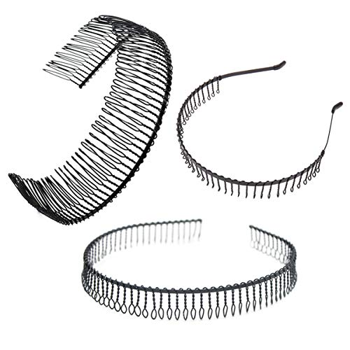 3 Pcs Unisex Black Metal Toothed Hairdressing Hair Band Head Band Hair Hoop Teeth Comb Headwear Elastic Non Slip Accessory for Women and Men