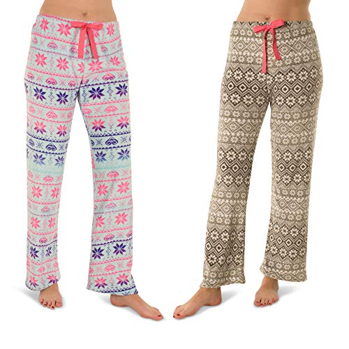 Totally Pink Woman's Warm and Cozy Plush Pajama Bottoms/Lounge Pants Two Pack (Large,Fair Isle/Snowflake)