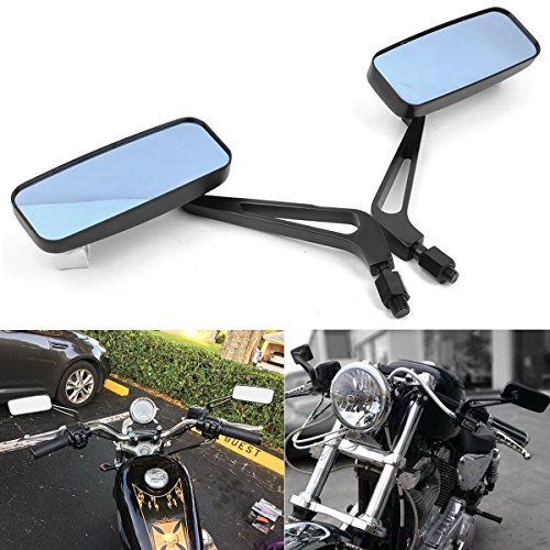 8mm 10mm Motorrad Rücklenker Rechteck Lenker Außenspiegel Seitenspiegel für Bobber Cruiser Chopper Scooter Touring ATV Sport Bike.