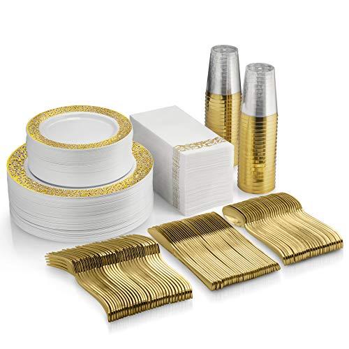 350 Piece Gold Dinnerware Set - 50 Guest Gold Lace Design Plastic Plates - 50 Gold Plastic Silverware - 50 Gold Cups - 50 Linen Like Gold Napkins, 50 Guest Disposable Gold Dinnerware Set