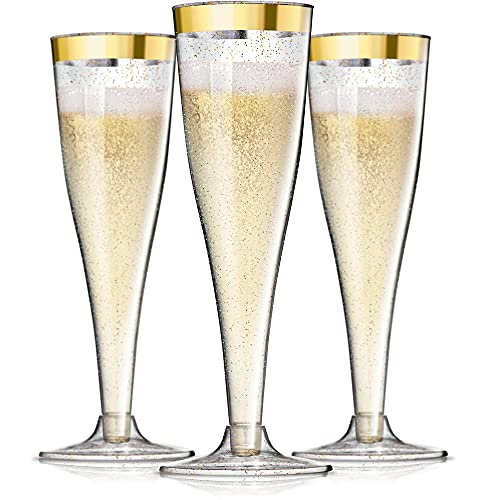 24 Plastic Champagne Flutes Disposable   Gold Rim Gold Glitter Plastic Champagne Glasses for Parties   Clear Plastic Cups   Plastic Toasting Glasses   Mimosa   Wedding and Shower Party Supplies