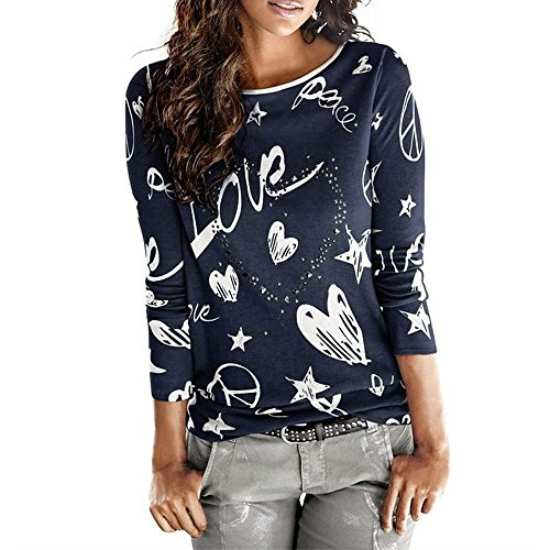 KEERADS Femmes Manche Longue Lettre Love Imprimé Chemise Décontractée Col Rond Chemisier en Vrac Coton Tops T-Shirt(L2,Marine)