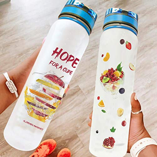 Ouniaodao Motivational Fruits Hope For A Cupe - Botella de agua deportiva a prueba de fugas, perfecta para senderismo, camping, color blanco 1000 ml