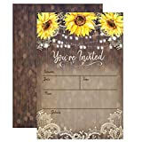 Best Wedding Invitations - Country Lace and Sunflower Invitations, Rustic Elegant invites Review