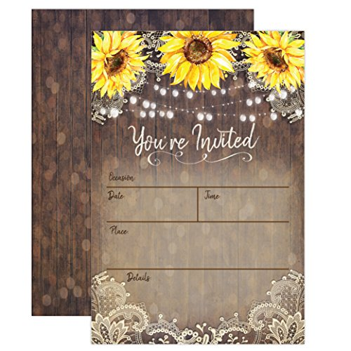 Country Lace and Sunflower Invitations, Rustic Elegant invites for Wedding Rehearsal Dinner, Bridal Shower, Engagement, Birthday, Bachelorette Party, Baby Shower, Reception, Anniversary, Housewarming