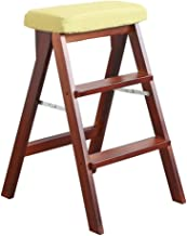 Kitchen Portable Household High Stool丨Indoor Three Step Ladder with Removable Seat Cover,High 64cm (Color : A)