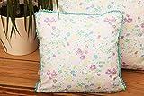 Kissen mit lila/blau/grünen Blümchen und Mini- Pompomborte, hübsches Dekokissen, tolles...