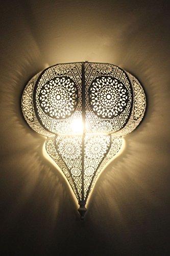 Orientalische Marokkanische Orient Lampe Leuchte Wandlampe Wandleuchte Malha - Weiss