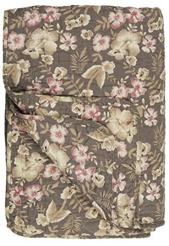 IB Laursen Quilt Braun Blumen Beige Rosa Decke 130x180 Tagesdecke Bettüberwurf