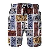 Holefg3b Shorts de Playa para Hombre, bañador de Secado rápido, Rejilla con Forma de Textura Abstracta marrón y Gris