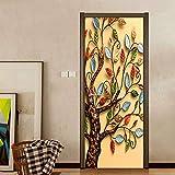Puerta Pegatinas Mural para puerta interior 3D Autoadhesivo Impermeable PVC DIY Art Mural de puerta Decoración De Habitaciones De Niños Y Niñas 77X200cm árbol