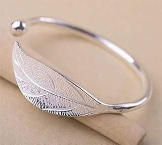 925 Sterling Silver Leaf Feather Bracelets & Bangles for Women Wedding Gift Adjustable Bracelet Birthday Leaf-Shaped Cuff Jewelry
