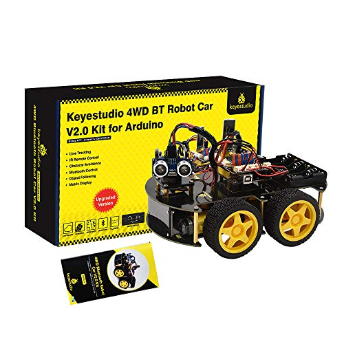 KEYESTUDIO 4WD Robot Car Starter Kit for Arduino UNO R3, Bluetooth IR Remote Control, Line Follow, Obstacle Avoidance, etc Programming Robotics Kit for Kids and Adults