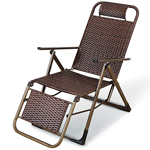 OESFL Outdoor Lounge Chairs Sun Loungers Comfortable Sofa Household Rattan Folding Chair Outdoor Lounge Chair Beach Chair Lunch Break Lazy Chair Siesta Chair Armchair (Color : Square Tube)