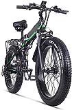 Bicicleta eléctrica de nieve, 21 Velocidades Frenos crucero de la playa for hombre de los deportes de montaña bici de la batería de litio de disco hidráulicos Montaña bicicleta eléctrica 48v 1000w de