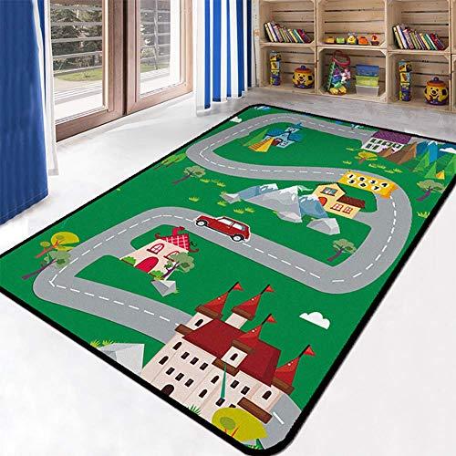 FEDYS Spielteppich Straße Bauernhof - Spielmatte, Kinderteppich Ultrasoft rutschfest - 120 x 200...