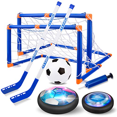 Nazano Hover Soccer Ball Games - 3-in-1 Kids Hockey Soccer Sets with 3 Goals and LED Lights USB Rechargeable Battery Indoor Outdoor Soccer Toys for Boys Girls Aged 3 4 5 6 7 8-12