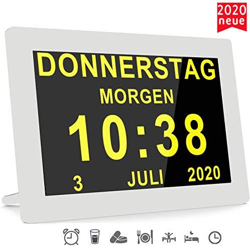 Véfaîî [2020 Version] 16 Alarme Digitaler Wecker Kalender Tag Uhr Für Demenz sehschwachen Gelesen Werden Kinder Senioren Sehschwache und Alzheimer Patienten (Weiß)