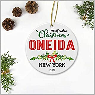 GrayPalace Merry Christmas Oneida New York 2019-Ceramic Decoration Ornament Keepsake Christmas Tree Decor Housewarming Gifts Ideas for Friends, Family Members, Couples and Newlywed