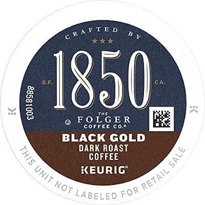 1850 by Folgers Coffee Black Gold Dark Roast Coffee, 20 K Cups for Keurig Coffee Makers