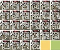 28ピース/セット5インチバット魔女スカルハロウィンDIYレイヤードステンシル絵画スクラップブック着色エンボスアルバム装飾テンプレート