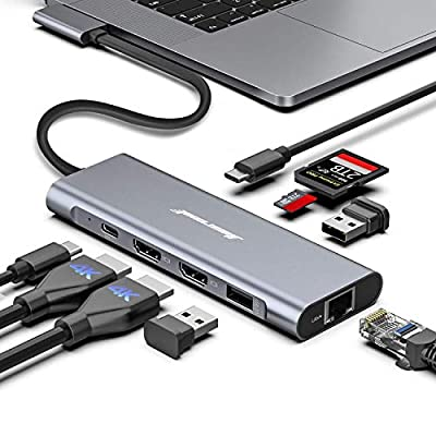 MacBook Pro Docking Station, 4K Triple Display Hiearcool 9 in 2 Laptop Docking Station Compatible for MacBook Pro/Air Thunderbolt 3 Multiport Docker USB C Dongle (2HDMI PD3.0 SD TF Reader RJ45 2USB)