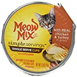 Meow Mix Simple Servings 2 Single Serve Cuos with Real Chicken & Turkey in Gravy (4-Packs) (Total 8- Single Servings