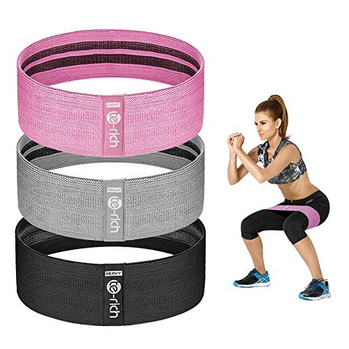 Te-Rich Resistance Bands for Legs and Butt, Fabric Workout Loop Bands, Set of 3 (Pink/Gray/Black)