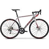 Fuji Roubaix 1.3 Disc Road Bike 2019 - Bicicleta de Carretera (49 cm, 700 c), Color Plateado y Rojo