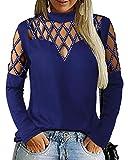 YOINS Camisetas Mujer Sexy de Manga Larga con Hombros Blusa Ahuecada Moda Manga Larga con Lentejuelas Tops Cuello Redondo Tachonado Azul XL