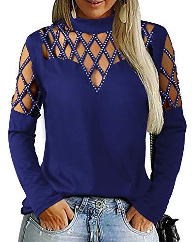 YOINS - Camisetas de manga larga para mujer, sexy, con lentejuelas, cuello redondo, blusas para ver a través de una túnica sólida Azul azul marino L