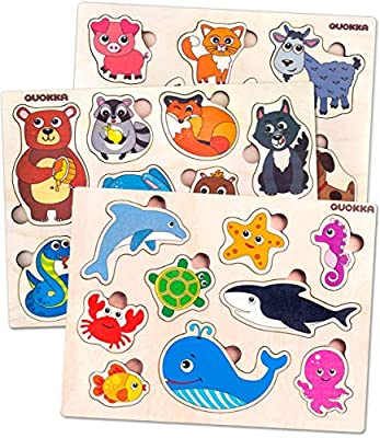 Wooden Toddler Puzzles Toys for 1 2 3 Year Old Boy and Girl - 3 Pack by Quokka - Childrens Wood Educational Games for Learning Shapes Sea Animals and Pets for Babies and Kids Ages 1-3