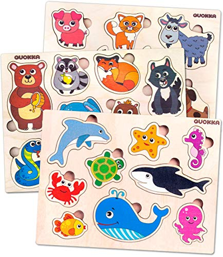 Toddler Wooden Puzzles Toys for Kids Ages 1 2 3 Years Old Boys and Girls – 3 Pack by Quokka –Babies Matching Game for Learning Animals Sea Creatures - Educational Wood Puzzle for Children 1-3 yo