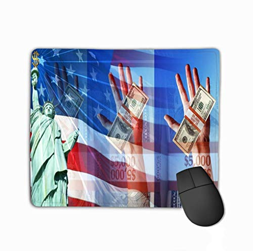 Family Mouse Pad, Rechteck Rechteck rutschfeste Gummi Mousepad Hände halten Geld American Flag Statue Freiheit Gemälde