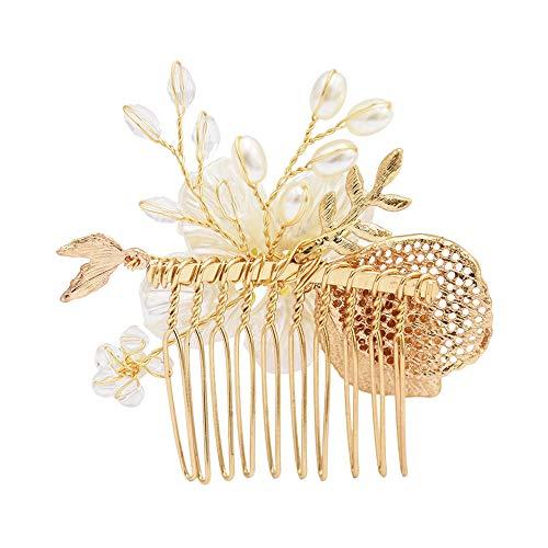 Ogquaton Premium Qualité Mode Strass Faux Perles Creux Épingle À Cheveux De Mariage Feuille De Mariée Pince À Cheveux Peigne Partie Chapeaux