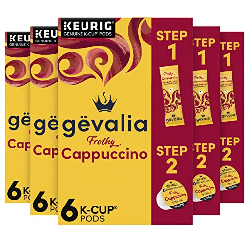 Gevalia Frothy 2-Step Cappuccino Espresso K‐Cup Coffee Pods & Froth Packets Kit (36 ct Pack, 6 Boxes of 6 Pods with Packets)
