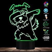 タッチコントロール、軽くたたくシュナウザー照明3D目の錯覚ライトUSBモダンナイトランプDAB犬動物光るLEDライト家の装飾デスクランプ