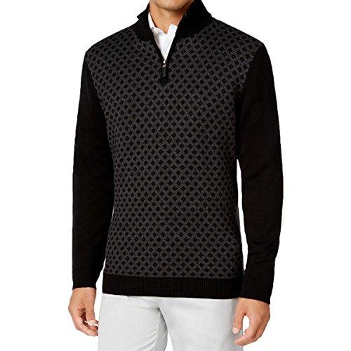 Tasso Elba Men's Black 1/4 Zip Diamond-Patterned Knit Sweater XL BHFO 2813