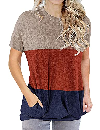 Camiseta Holgada con Bolsillo De Manga Corta Y Cuello Redondo con Costura De Verano para Mujer