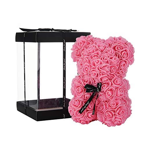 NWSX Rosenbär Blumenbär Perfekt zum Jubiläum, Rose Teddybär Mütter - Klare Geschenkbox inklusive! 10 Zoll groß - über 200+ Blumen (pin, 10in)
