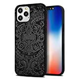 YFWOOD Compatible for iPhone 12 Case (2020) / Real Wood Engraved Compatible with iPhone 12 Pro (2020) Slim Protective Cover Anti-Scratch Anti-Slip Shockproof Drop Proof Bumper (Totem)