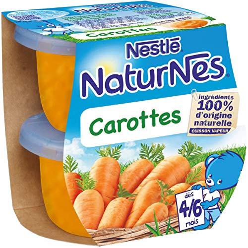 NESTLE NATURNES Petits Pots Bébé Carottes - Dès 4/6 mois - 2x130g - Pack de 12 (24 Pots)