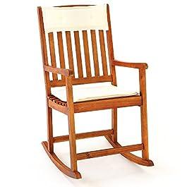 Deuba Chaise Rocking Chair en Bois Dur Acacia avec Coussins Amovibles Chaise Bascule Adulte